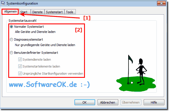 Systemkonfiguration Systemstartauswahl in Windows 7