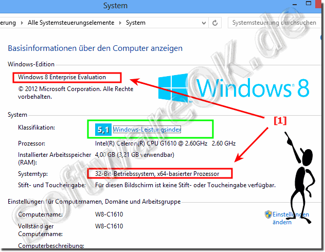 Erkennen bei Windows-8 ob Windows x32/x86 oder x64 Edition