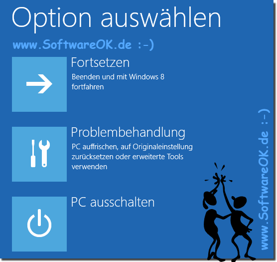 Windows 8 Computerreparaturoptionen<br>keine Installation!