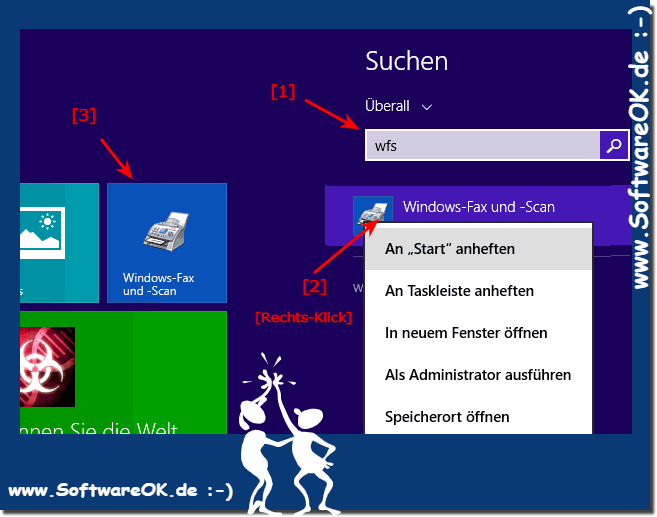 Windows 8.1 Fax und Scan an Start oder die Taskleiste pinnen!