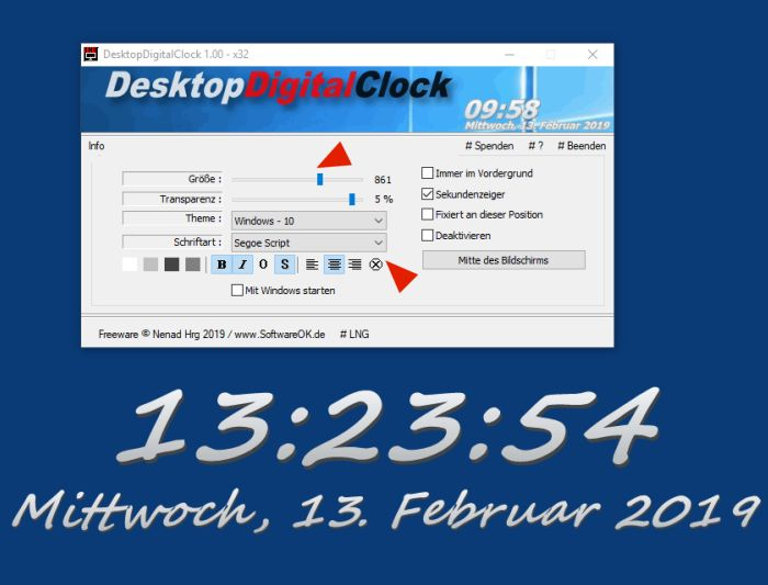 DesktopDigitalClock 3 Recht Grosse Digitale Desktop UHR